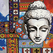 Artsy Metal Prints - Buddha Tapestry Style Metal Print by Corporate Art Task Force