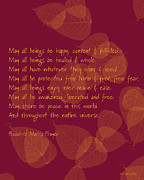 Free Of Peace Posters - Buddhist Metta Prayer Poster by Marcy Gold