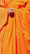 Saffron Prints - Buddhist Monk 02 Print by Rick Piper Photography