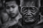 David Longstreath Metal Prints - Buddhist Monk bw1 Metal Print by David Longstreath