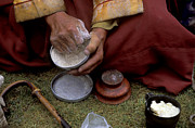 Wooden Bowls Prints - Buddhist Monk Eats Tsampa - Mt Kailash Trek Print by Craig Lovell