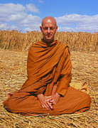 Featured Metal Prints - Buddhist Monk Meditating Metal Print by David Parker and SPL