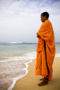 Sri Lankan Ethnicity Photo Posters - Buddhist Monk Sri Lanka Beach Poster by Kevin Miller