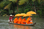 Buddhist Monk Framed Prints - Buddhist Monks in Mekong river Framed Print by Dung Ma