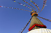 Kathmandu Framed Prints - Buddhist stupa and prayer flags at Bodhnath in Kathmandu Nepal Framed Print by Robert Preston