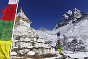 Stupa Prints - Buddhist stupa and prayer flags at Dingboche village in the Everest Region of Nepal Print by Robert Preston