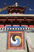 Tibetan Buddhism Framed Prints - Buddhist Symbol on Chorten - Tibet Framed Print by Craig Lovell
