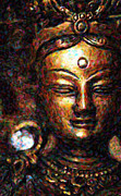 Statues Digital Art Prints - Buddhist Tara Deity Print by Tim Gainey