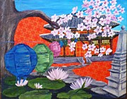 Buddhist Monk Paintings - Buddhist Temple in South Korea by Karen Whytock Lucas