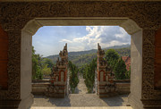 Introvert Prints - Buddhist temple on Bali view through two gates Print by Bart De Rijk