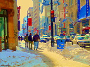 Telus Prints - Buddies At Bmo Telus Corner Rue St Catherine Across The Metro Boutiques Cafes Winter Scene C Spandau Print by Carole Spandau