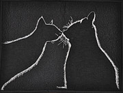Cats Tapestries - Textiles Originals - Buddies by Jo Baner