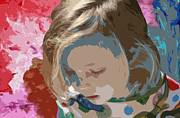 Little Girls Mixed Media Prints - Budding Artist Print by Ellen Henneke