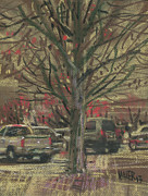 Parking Drawings - Budding Trees by Donald Maier