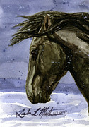Black Stallion Paintings - Buddy Bachelor Stallion of Sand Wash Basin by Linda L Martin
