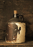 Glazed Prints - Buddy Bear Moonshine Jug Print by John Stephens