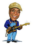 Caricatures Painting Prints - Buddy Guy Print by Art