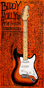 Iconic Paintings - Buddy Holly 1958 Stratocaster by Karl Haglund