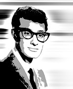 American Icons Posters - Buddy Holly Pop Art Poster by Daniel Hagerman