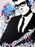 Black And White Hand Print Posters - Buddy Holly Poster by Venus