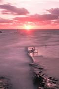 Bude Sea Pool Sunset Print by Debra Jayne