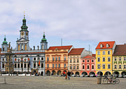 Townhouses Framed Prints - Budweis - Namesti Premysla Otakara II Framed Print by Christine Till