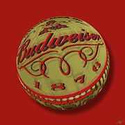 Black Top Mixed Media Posters - Budweiser Cap Orb Poster by Tony Rubino