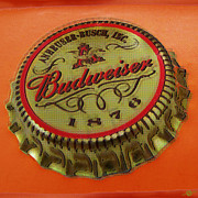 Gold Mixed Media Originals - Budweiser Cap by Tony Rubino
