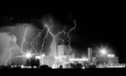 Images Lightning Photos - Budweiser Lightning Thunderstorm Moving Out BW Pano by James Bo Insogna