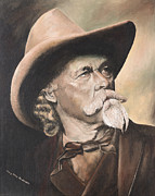 Railroads Paintings - Buffalo Bill Cody by Mary Ellen Anderson