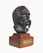 Head Sculpture Prints - Buffalo Bill - side view Print by Herb Conrad