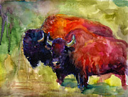 Svetlana Novikova Art Drawings - Buffalo Bisons painting by Svetlana Novikova