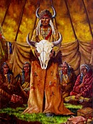 Cowboys And Indians Painting Framed Prints - Buffalo Council Framed Print by Jeroem Vogschmidt