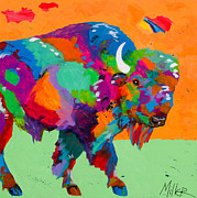 Colorado Artist Tracy Miller Posters - Buffalo Glow Poster by Tracy Miller
