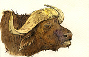 Nature Study Painting Posters - Buffalo head Poster by Juan  Bosco