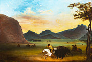 Bison Digital Art - Buffalo Hunt by Alfred Jacob Miller