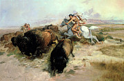 Buffalo Framed Prints - Buffalo Hunt Framed Print by Charles Marion Russell