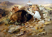 Western Art Digital Art Posters - Buffalo Hunt Poster by Charles Russell