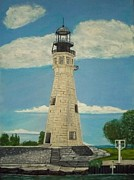 Buffalo River Paintings - Buffalo Lighthouse by Chris Oldacre