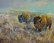 Southwestern Print Framed Prints - Buffalo Framed Print by Michael Creese