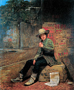 Portrait Painter Posters - Buffalo Newsboy Poster by Thomas Le Clear