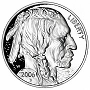 5 Cents Prints - Buffalo Nickel Print by Fred Larucci