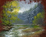 Pallet Knife Painting Posters - Buffalo River Bluff Poster by Timothy Jones