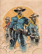 African-american Mixed Media Posters - Buffalo Soldiers Poster by Tu-Kwon Thomas