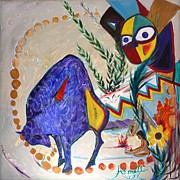 Dakota Paintings - Buffalo Spirit by Avonelle Kelsey
