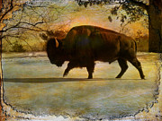 Bison Digital Art - Buffalo-Textured Image by Pamela Phelps