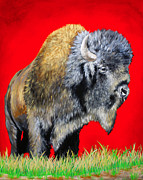 Gold Lime Green Metal Prints - Buffalo Warrior Metal Print by Teshia Art