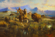 Western Art Digital Art Posters - Buffalo_Hunt Poster by Edgar Samuel Paxson