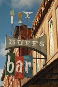 Old Signs Posters - Buffs Bar Forsyth Montana Poster by Jeff  Swan