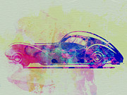 Vintage Car Drawings Prints - Bugatti Atlantic Watercolor 3 Print by Irina  March